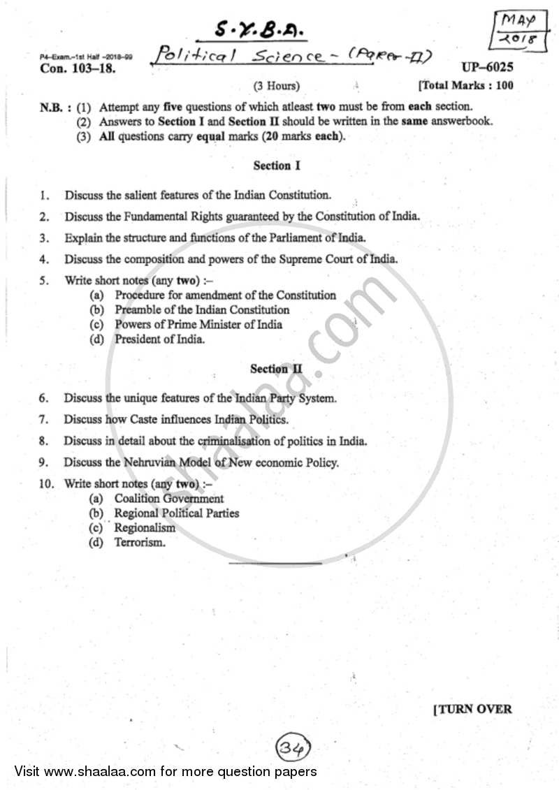 Indian political system notes pdf
