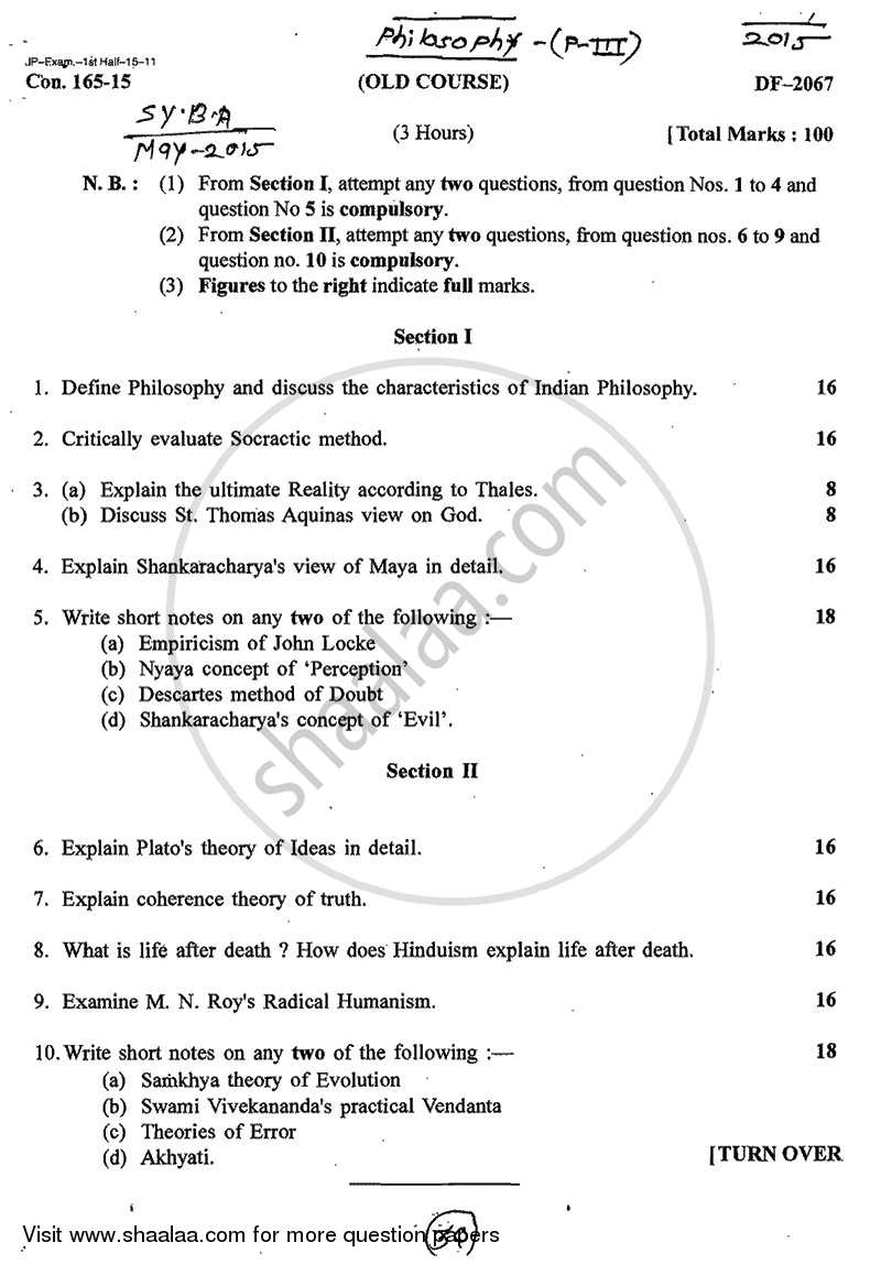 Question Paper - Indian and Western Philosophy 2014 - 2015 - B.A. - 2nd Year (SYBA) - University of Mumbai