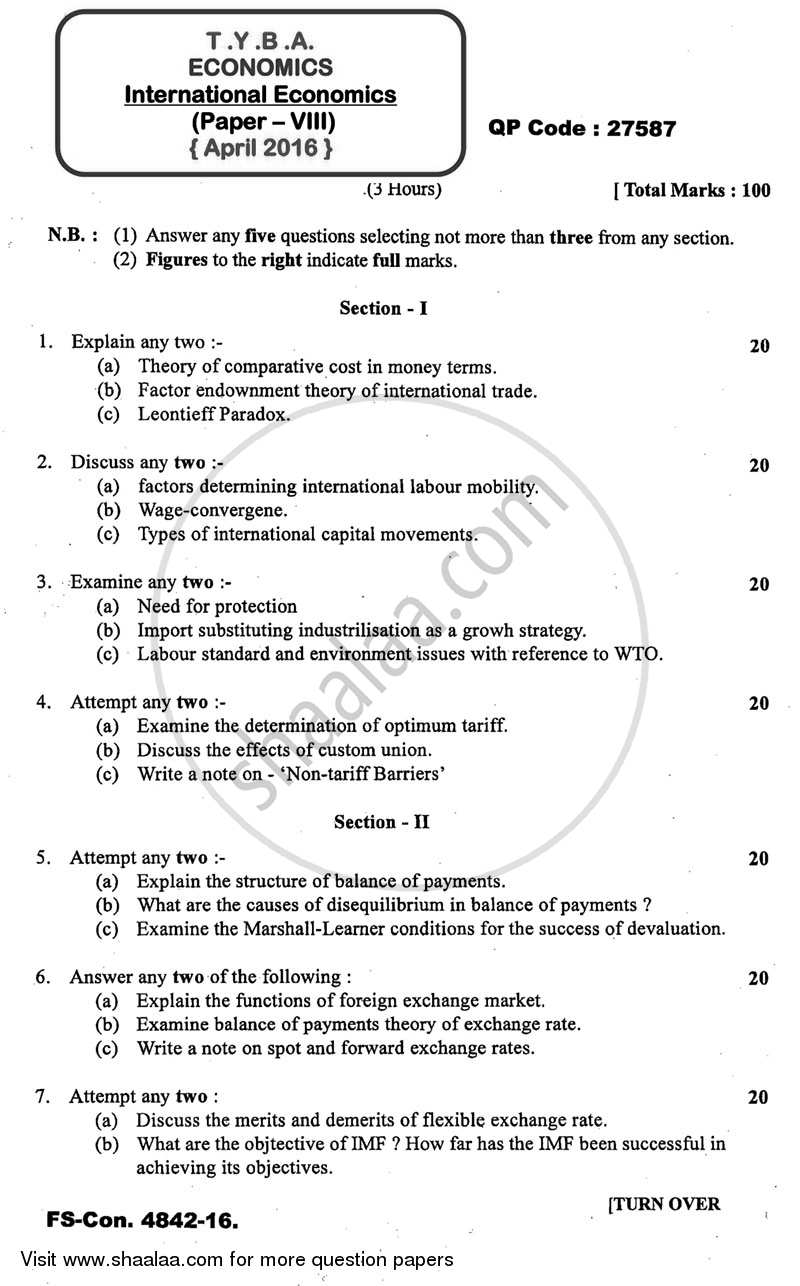 Question Paper - International Economics 2015 - 2016 - B.A. - 3rd Year (TYBA) - University of Mumbai