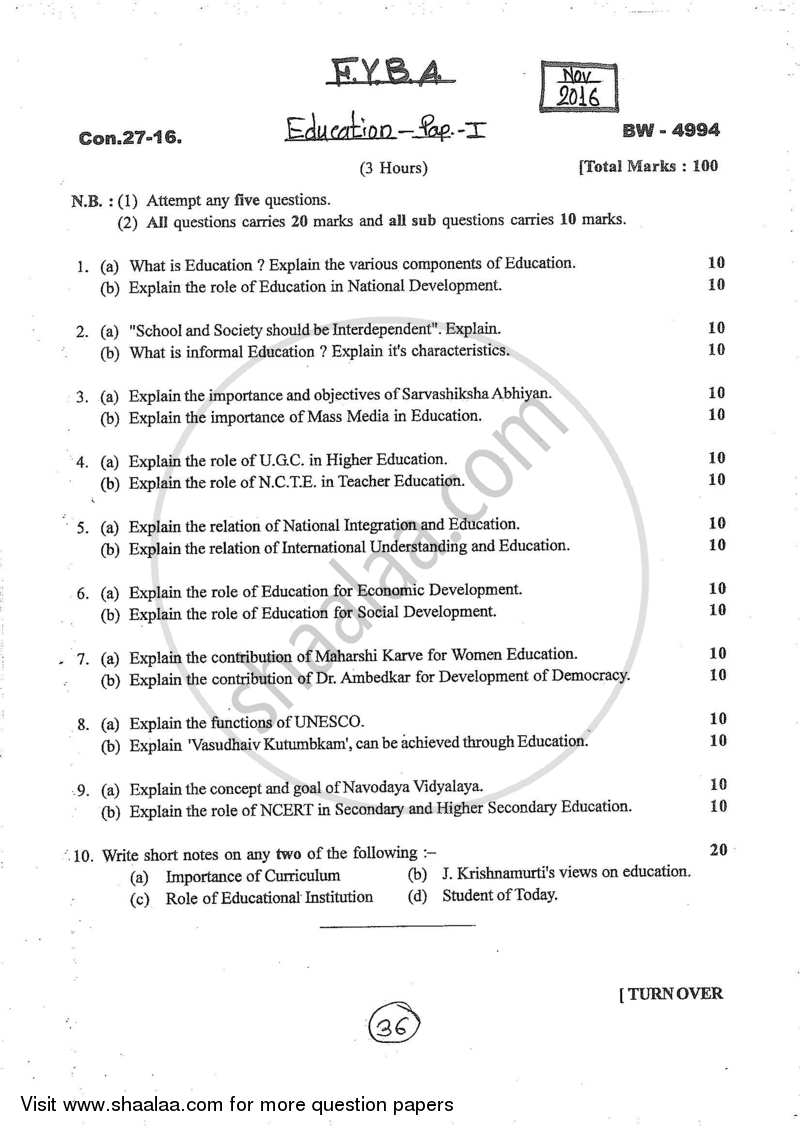 Top Five B a 1st Year Question Paper 2019 - Circus