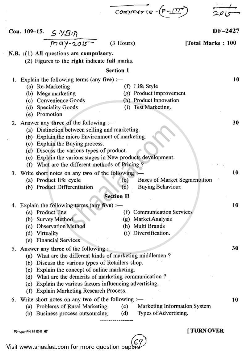 Question Paper - Introduction to Marketing 2014 - 2015 - B.A. - 2nd Year (SYBA) - University of Mumbai
