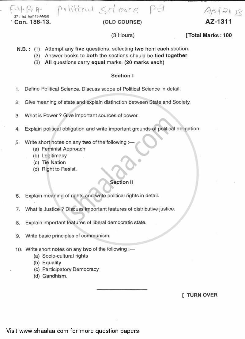 Introduction to Politics 2012-2013 - B.A. - 1st Year (FYBA) - University of Mumbai question paper with PDF download