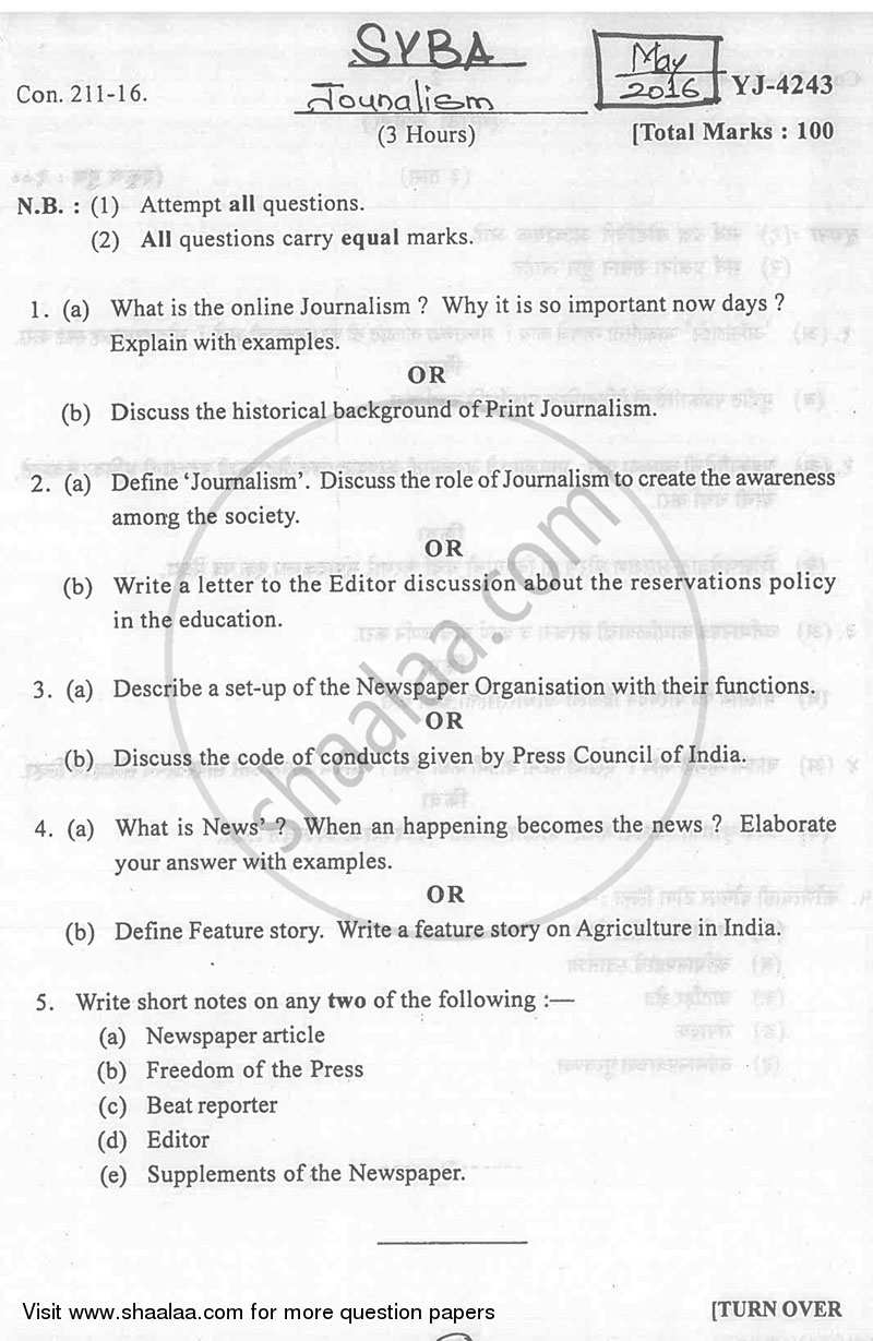 Question Paper - Journalism 2015 - 2016 - B.A. - 2nd Year (SYBA) - University of Mumbai