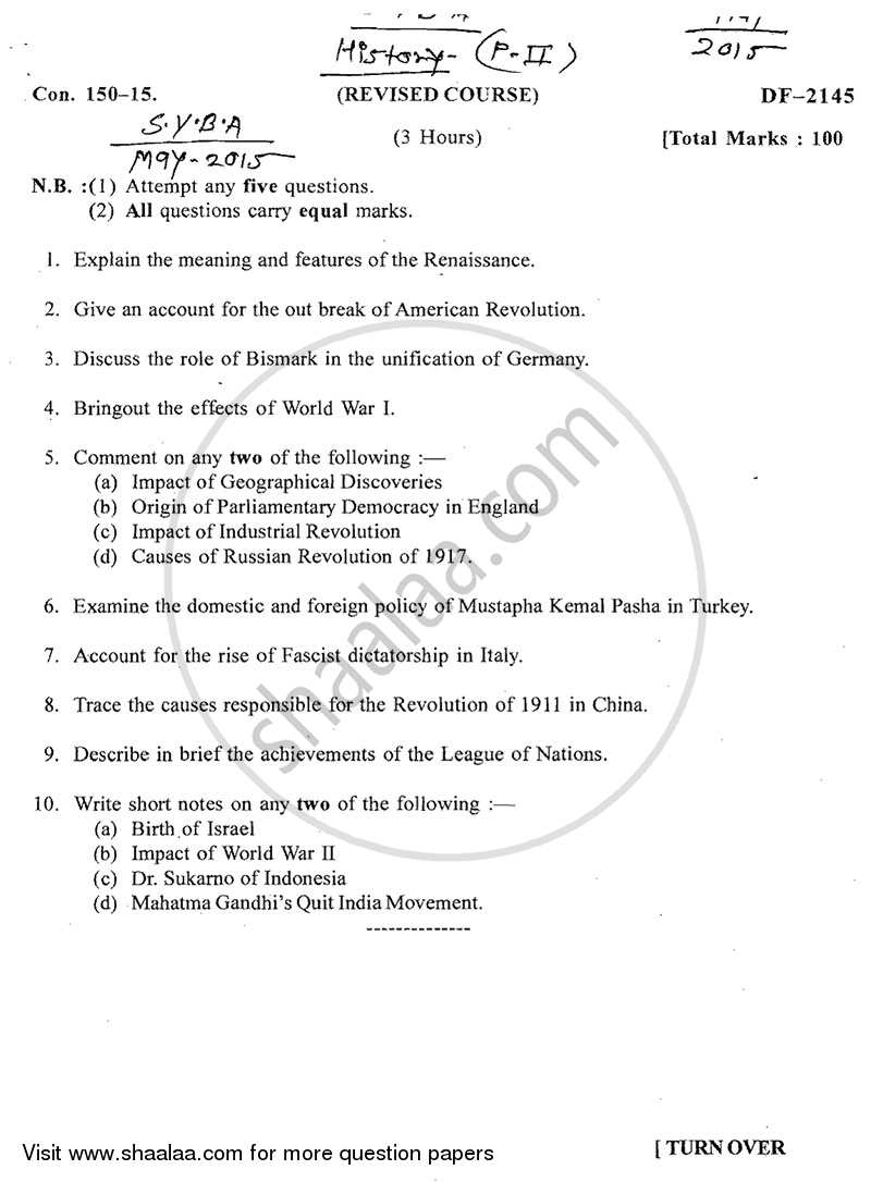Question Paper - Landmark in World History (1453‐1945) 2014 - 2015 - B.A. - 2nd Year (SYBA) - University of Mumbai