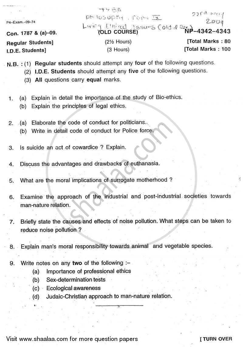 Question Paper - Living Ethical Issues 2008 - 2009 - B.A. - 3rd Year (TYBA) - University of Mumbai