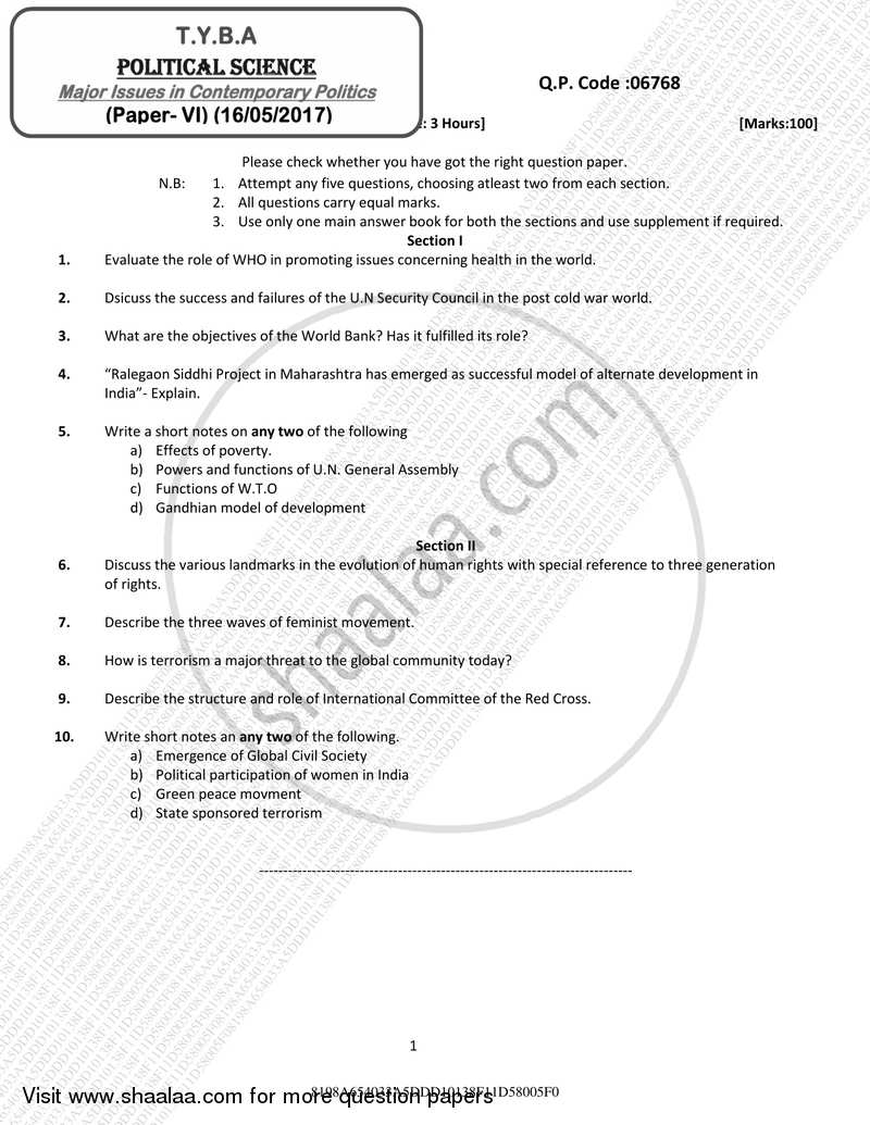 Question Paper - Major Issues in Contemporary Politics 2016 - 2017 - B.A. - 3rd Year (TYBA) - University of Mumbai