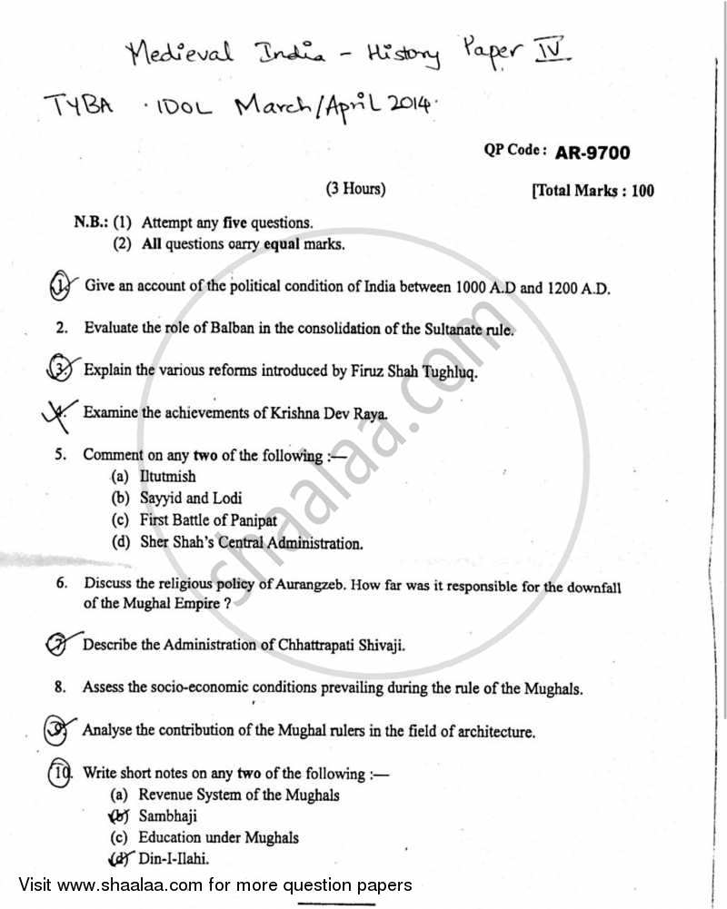 Question Paper - Medieval India (1000 AD to 1707 AD) 2013 - 2014 - B.A. - 3rd Year (TYBA) - University of Mumbai