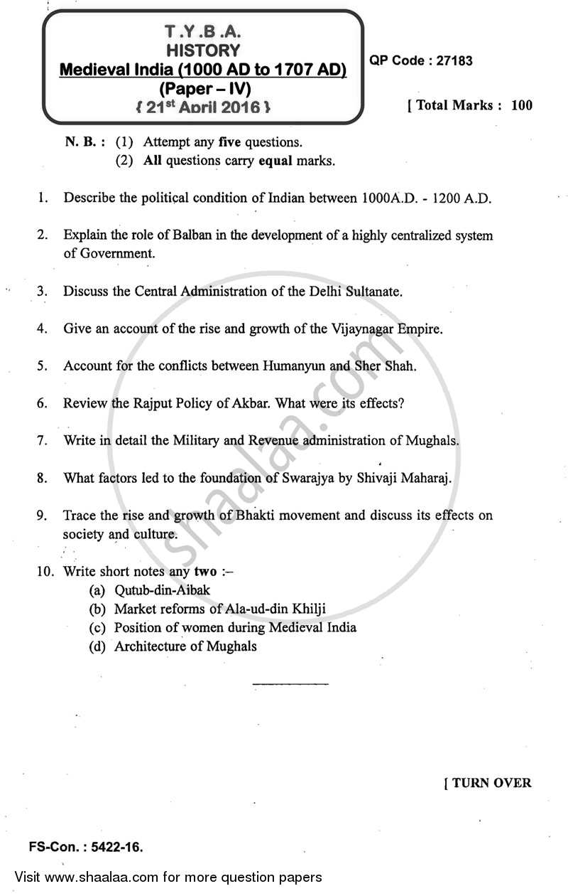 Question Paper - Medieval India (1000 AD to 1707 AD) 2015 - 2016 - B.A. - 3rd Year (TYBA) - University of Mumbai