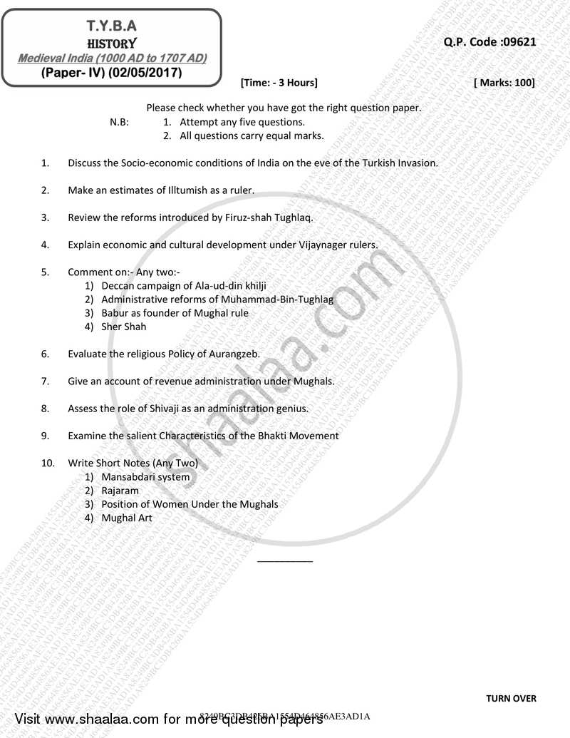 Question Paper - Medieval India (1000 AD to 1707 AD) 2016 - 2017 - B.A. - 3rd Year (TYBA) - University of Mumbai