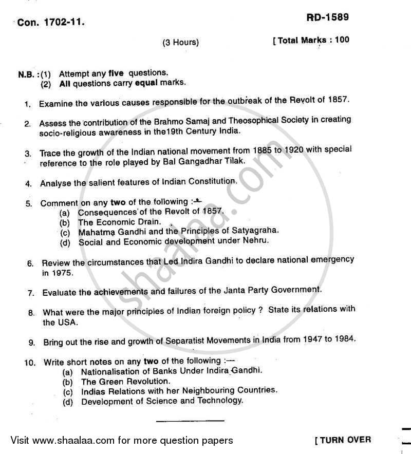 Question Paper - Modern India (1857 ‐ 1984) 2010 - 2011 - B.A. - 3rd Year (TYBA) - University of Mumbai