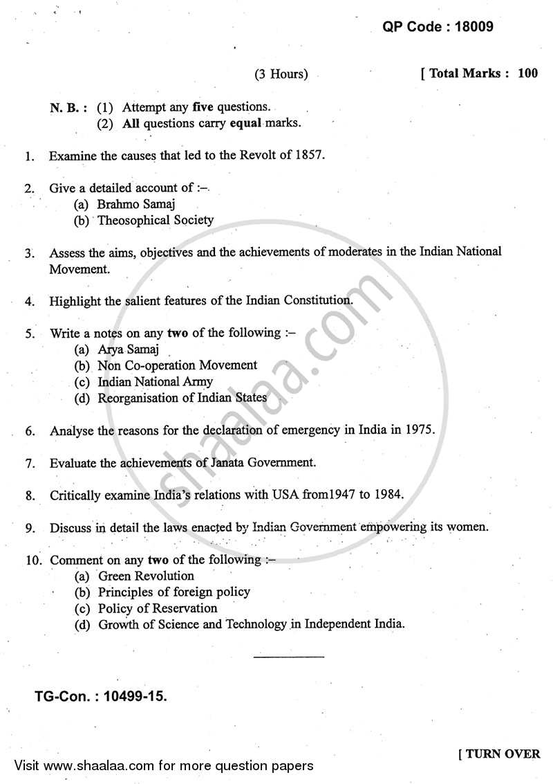 Question Paper - Modern India (1857 ‐ 1984) 2014 - 2015 - B.A. - 3rd Year (TYBA) - University of Mumbai