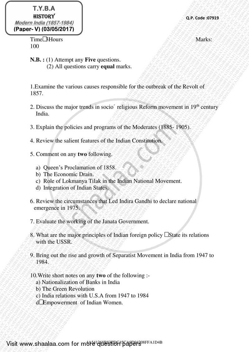 Question Paper - Modern India (1857 ‐ 1984) 2016 - 2017 - B.A. - 3rd Year (TYBA) - University of Mumbai