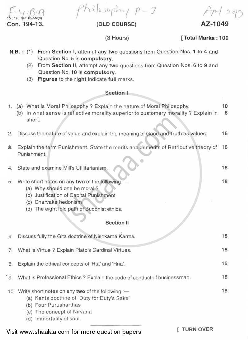 Question Paper - Philosophy Paper 1 (Moral Philosophy) 2012-2013 - B.A. - 1st Year (FYBA) - University of Mumbai with PDF download