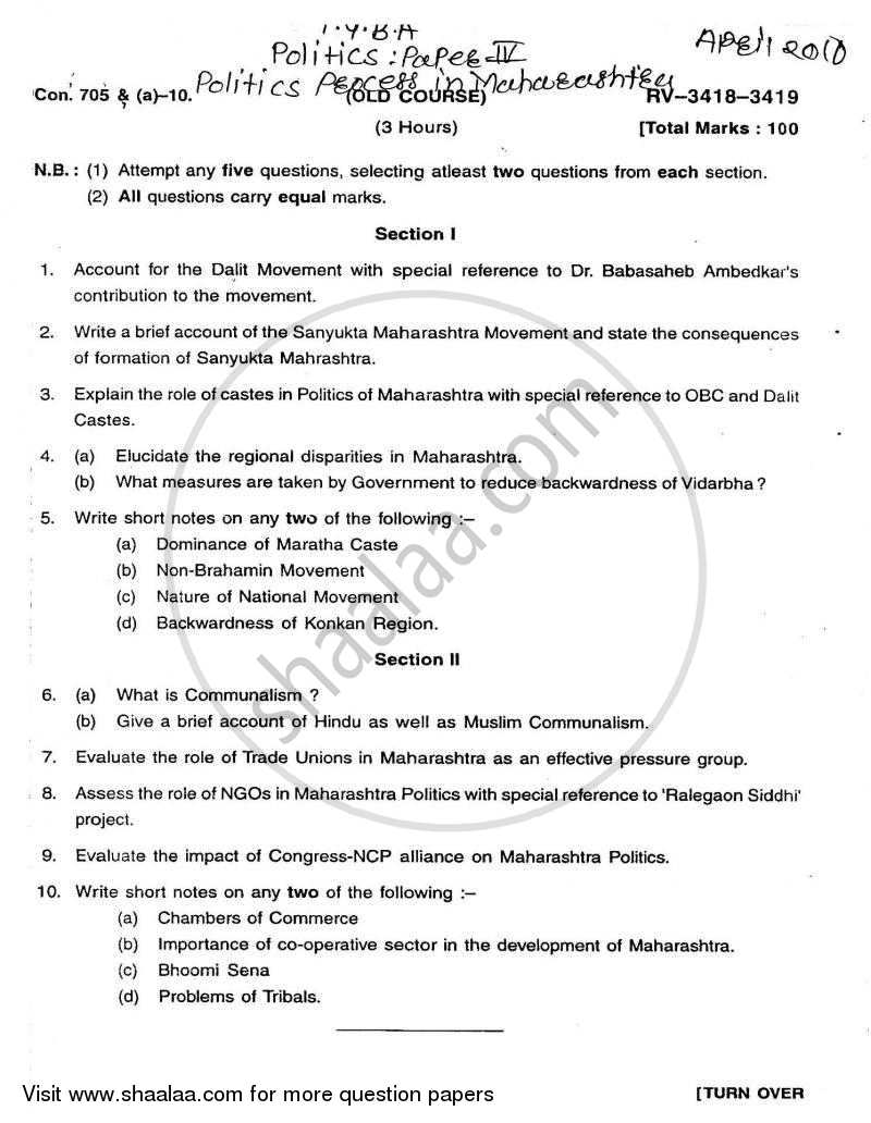 Question Paper - Political Process in Maharashtra 2009 - 2010 - B.A. - Semester 6 (TYBA) - University of Mumbai