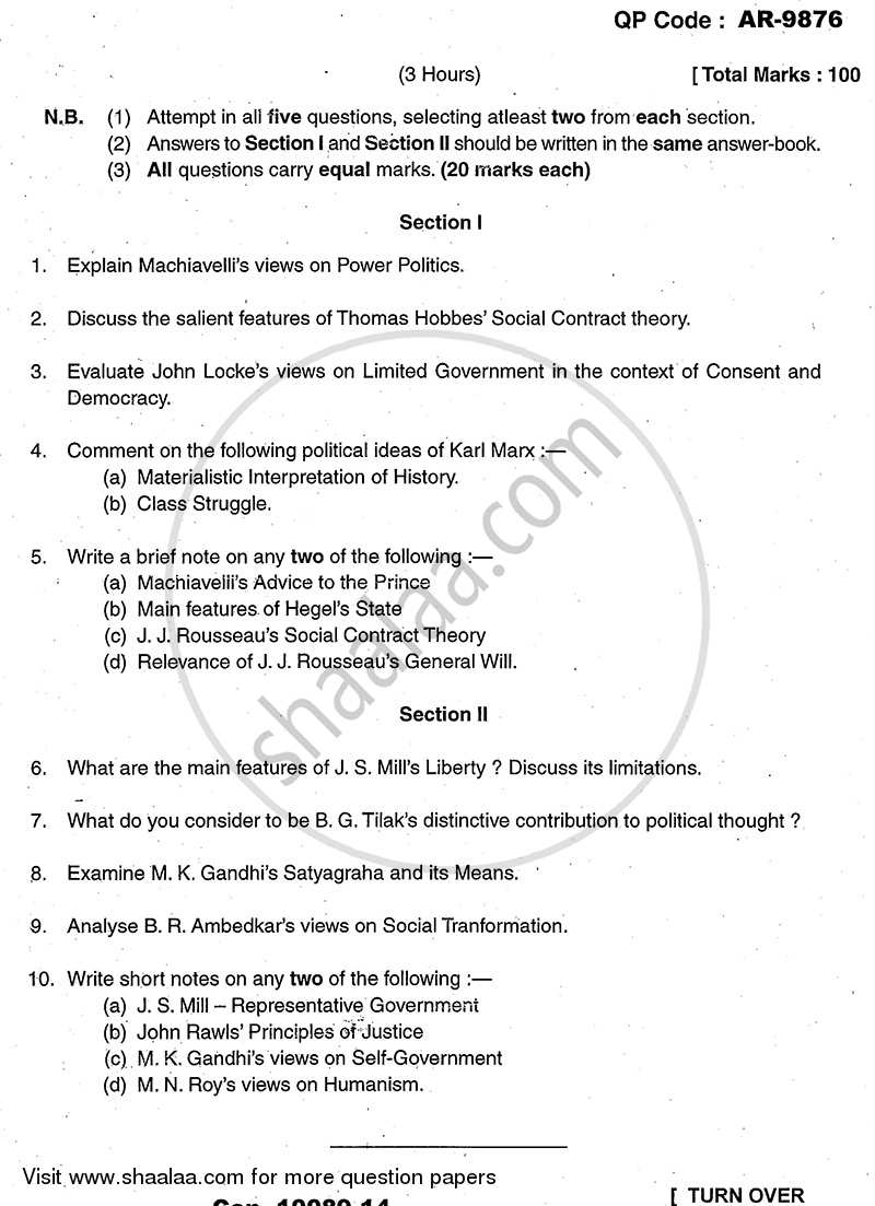 Question Paper - Political Thought 2013 - 2014 - B.A. - 3rd Year (TYBA) - University of Mumbai