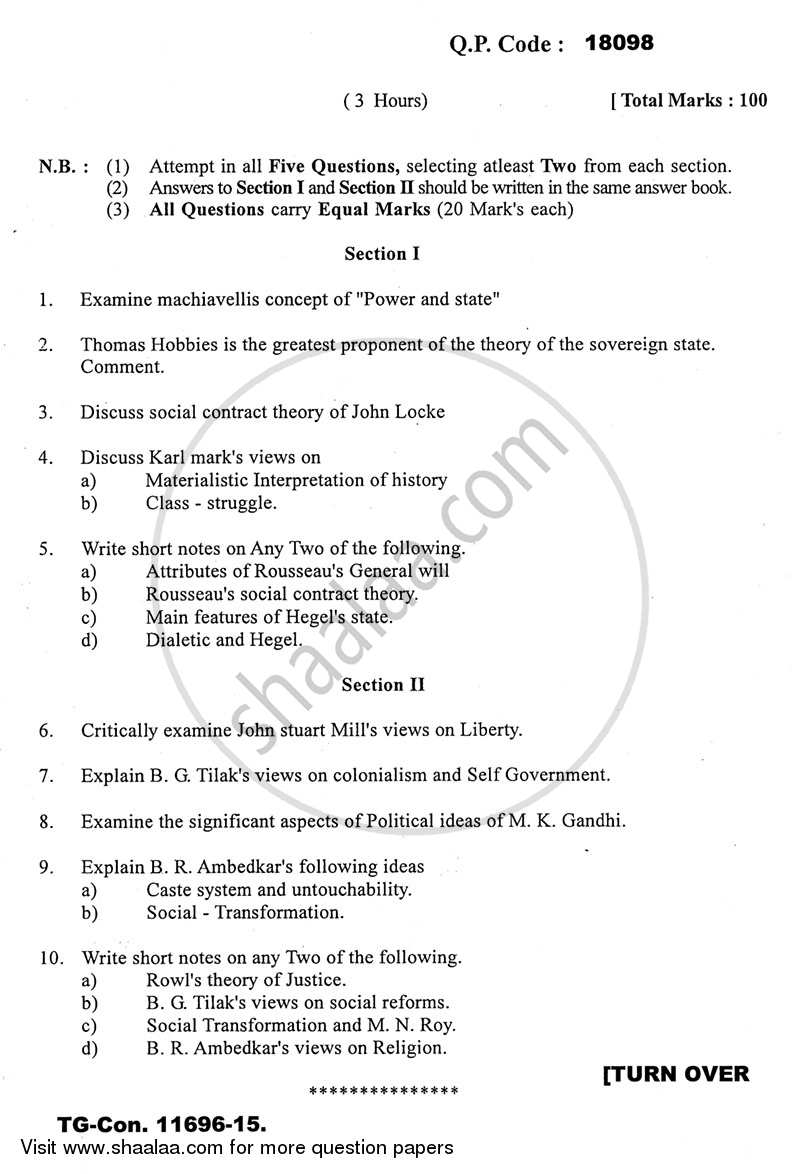 Question Paper - Political Thought 2014 - 2015 - B.A. - 3rd Year (TYBA) - University of Mumbai