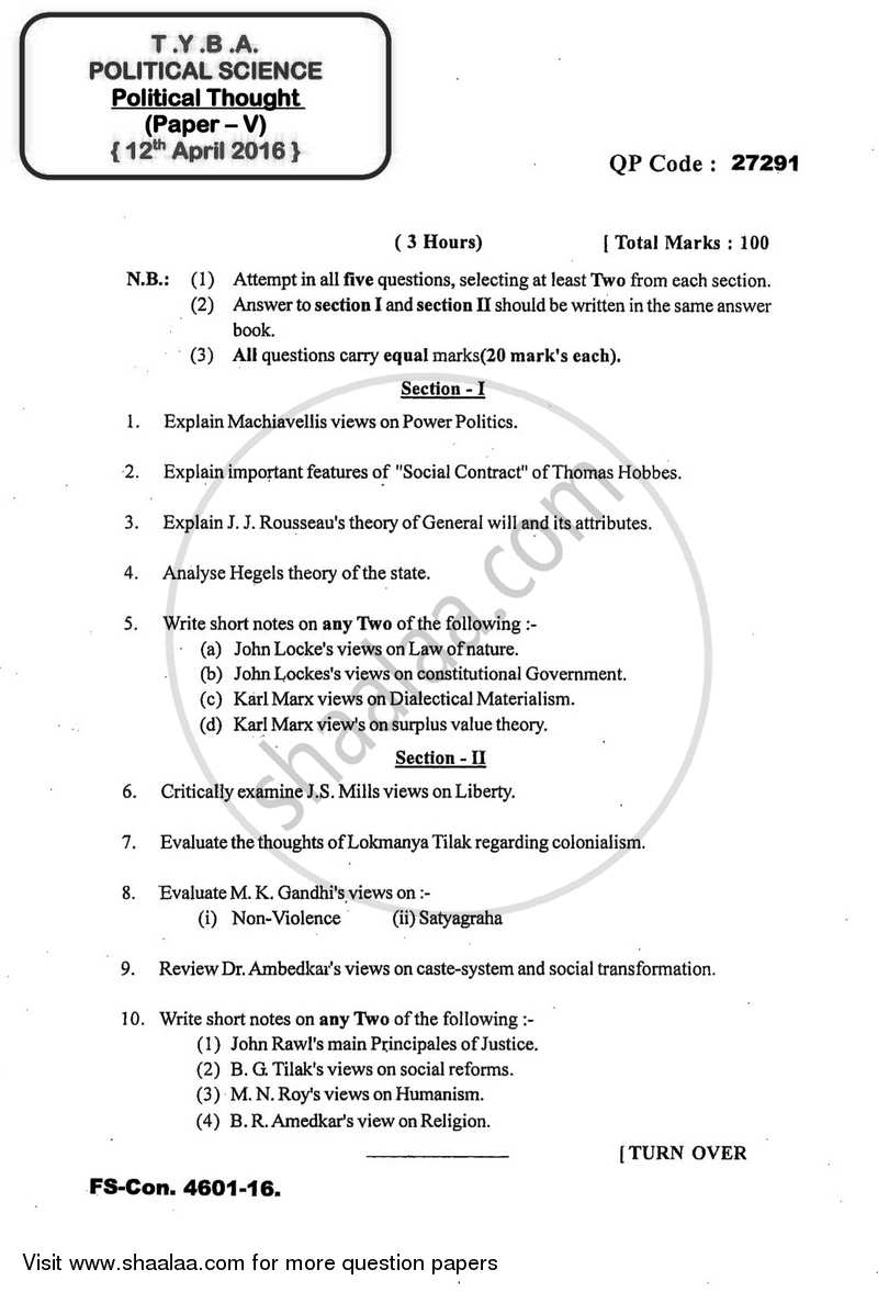 Question Paper - Political Thought 2015-2016 - B.A. - 3rd Year (TYBA) - University of Mumbai with PDF download