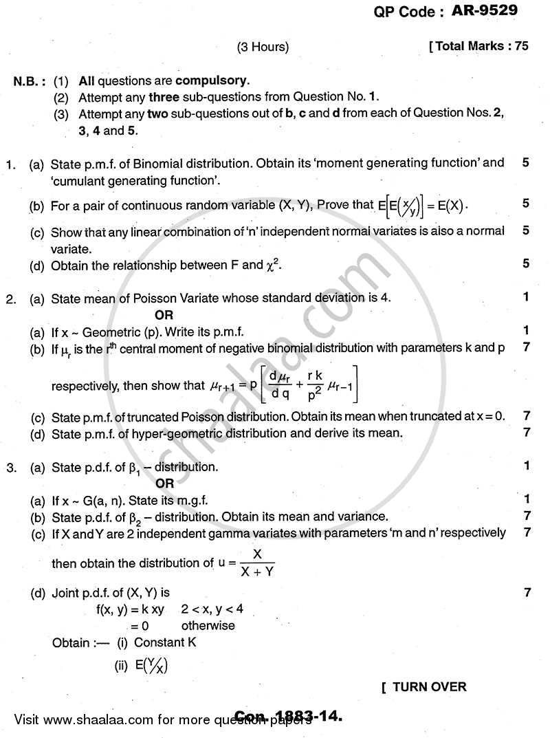 Question Paper - Probability and Sampling Distributions 2013 - 2014-B.A.-Semester 6 (TYBA) University of Mumbai