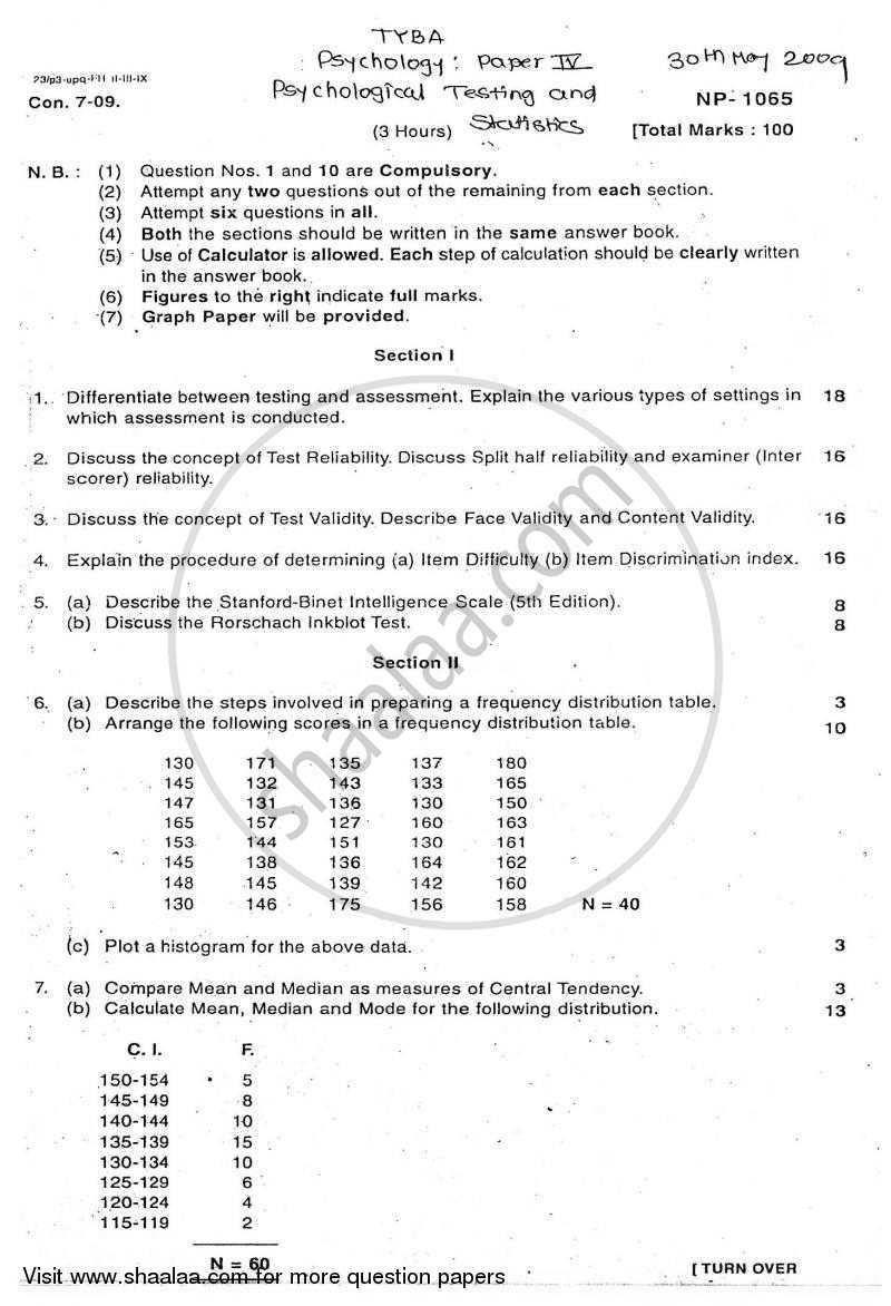 Question Paper - Psychological Testing and Statistics 2008 - 2009 - B.A. - Semester 6 (TYBA) - University of Mumbai