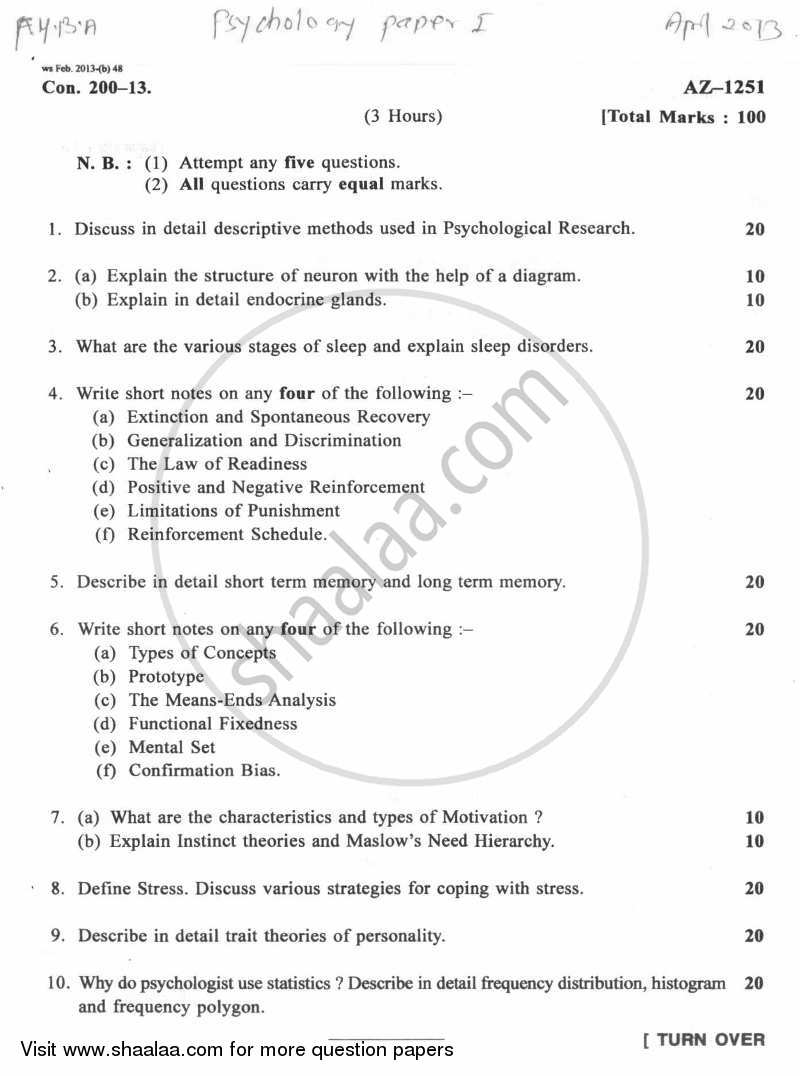 Question Paper - Psychology Paper 1 (General Psychology) 2012 - 2013 - B.A. - 1st Year (FYBA) - University of Mumbai