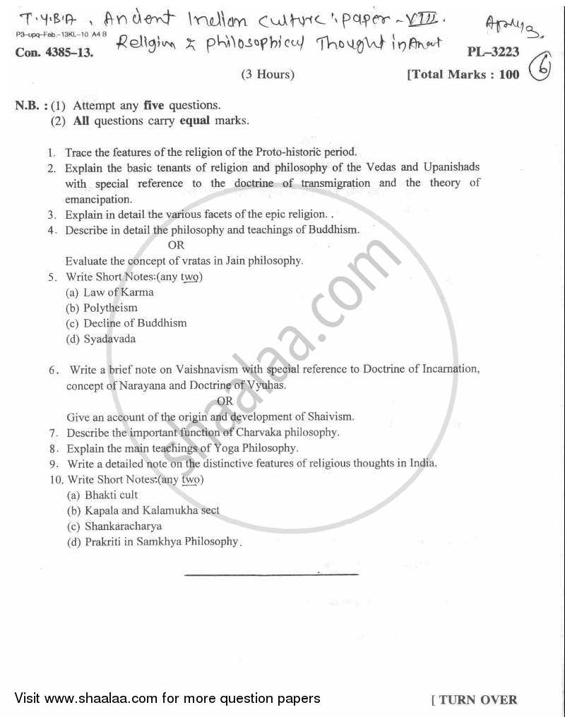Question Paper - Religious and Philosophical Thoughts in Ancient India 2012 - 2013 - B.A. - Semester 5 (TYBA) - University of Mumbai