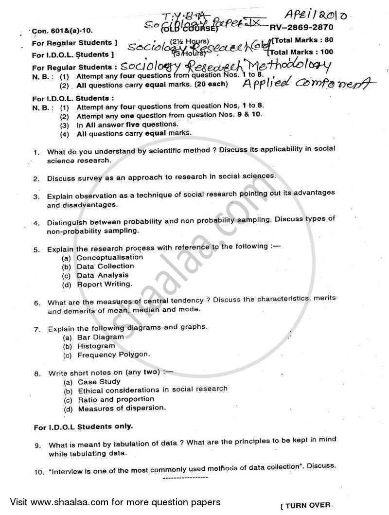 Research Methodology 2009-2010 BA Sociology Semester 6 (TYBA
