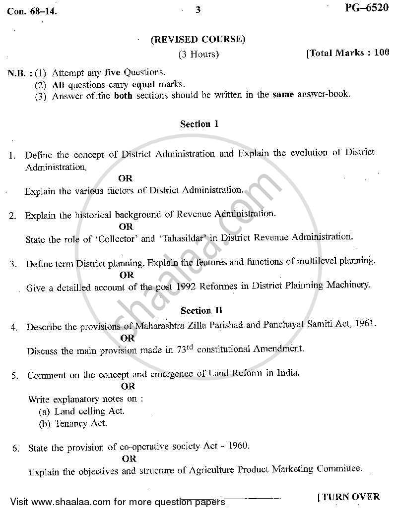 Question Paper - Rural Administration and Laws Related to Rural Development 2013 - 2014 - B.A. - Semester 4 (SYBA) - University of Mumbai