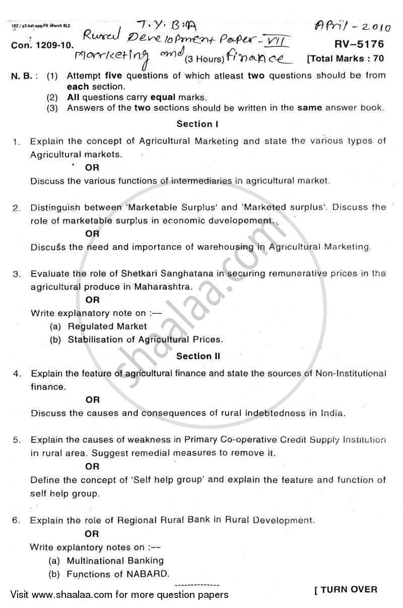 Question Paper - Rural Marketing and Finance 2009 - 2010 - B.A. - Semester 5 (TYBA) - University of Mumbai