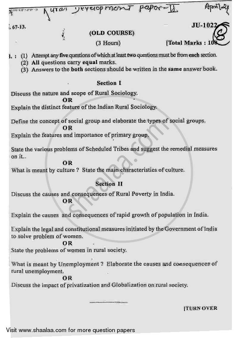 Question Paper - Rural Society and Its Development Strategies 2012 - 2013 - B.A. - 2nd Year (SYBA) - University of Mumbai