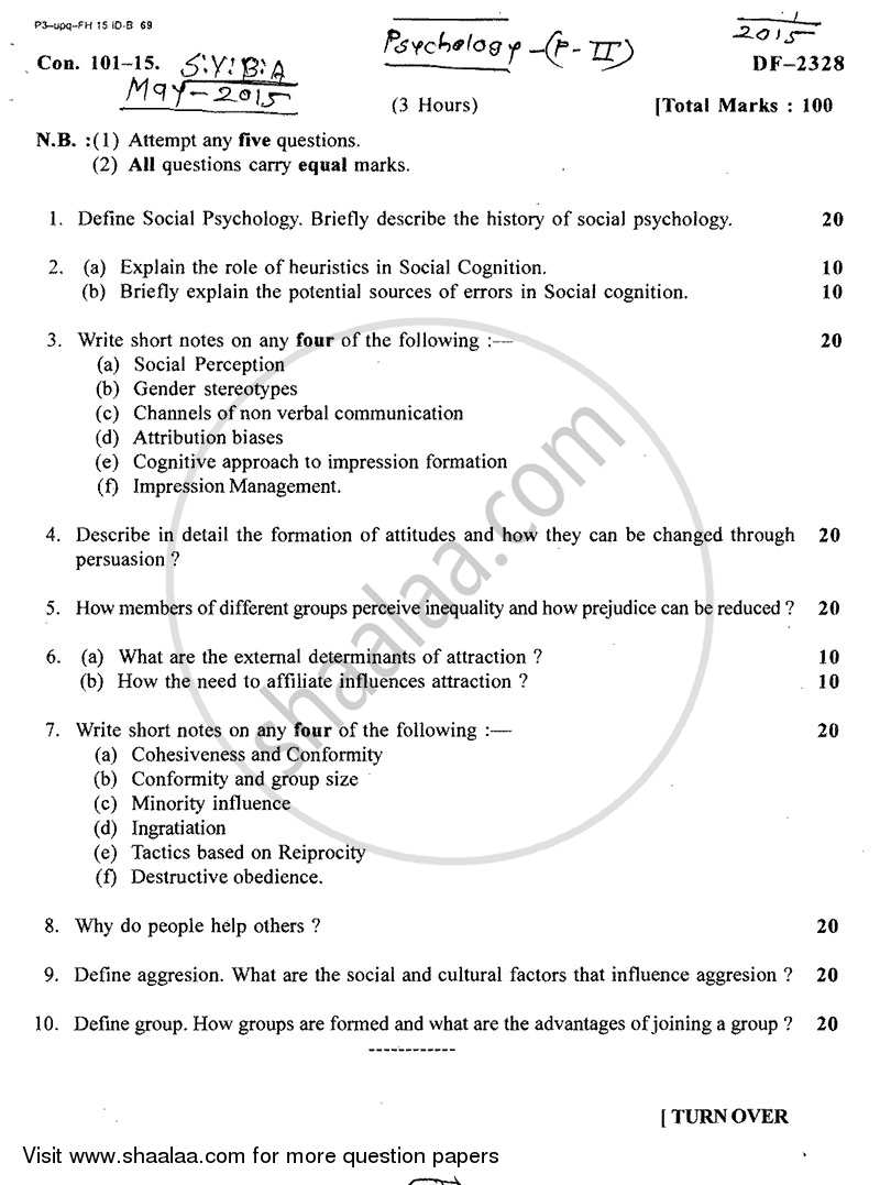 Research paper on social psychology