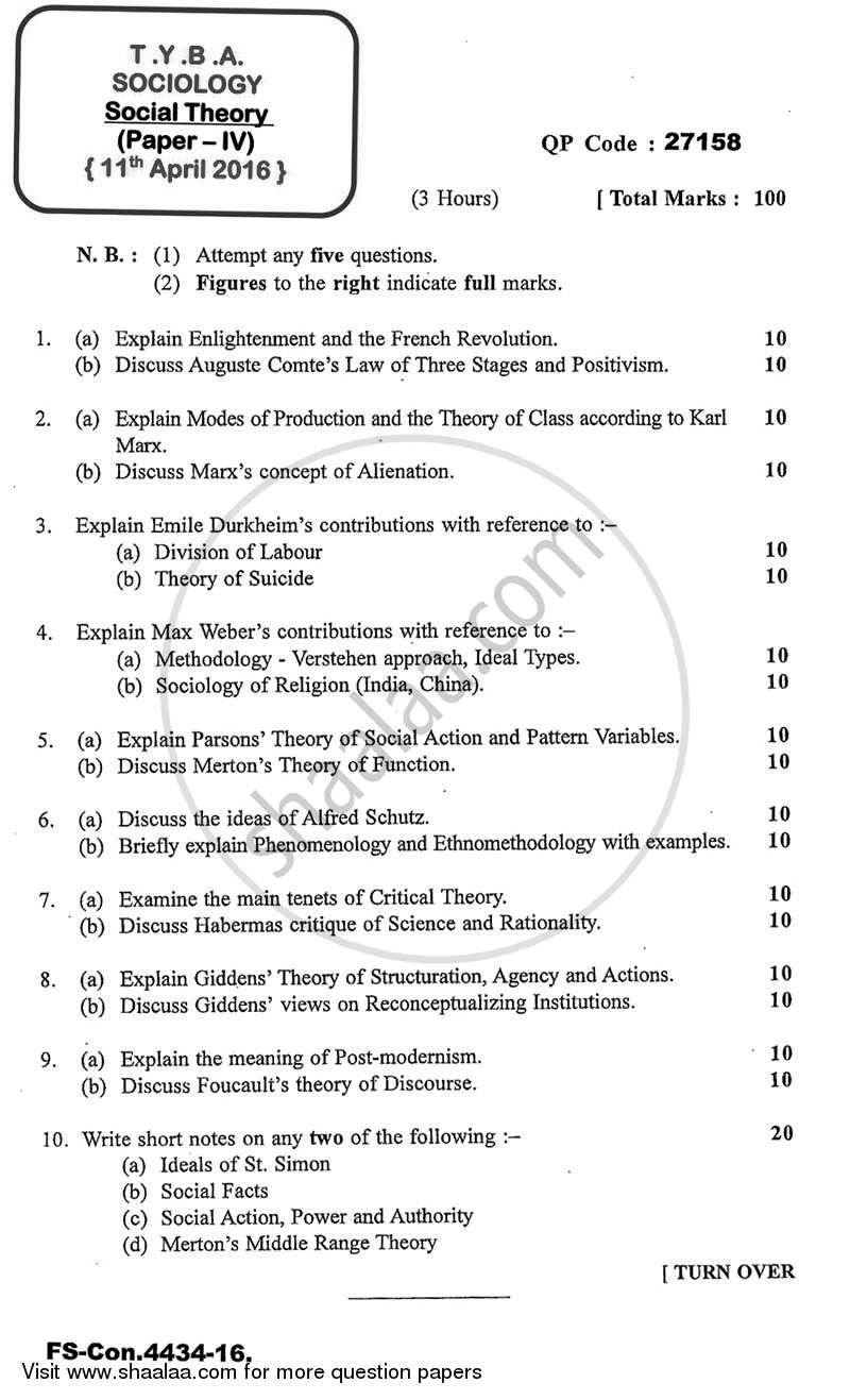 Question Paper - Social Theory 2015 - 2016 - B.A. - 3rd Year (TYBA) - University of Mumbai