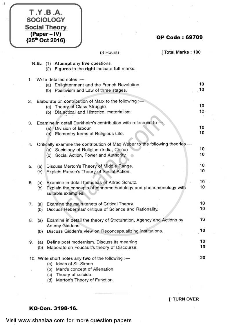 Question Paper - Social Theory 2016 - 2017 - B.A. - 3rd Year (TYBA) - University of Mumbai