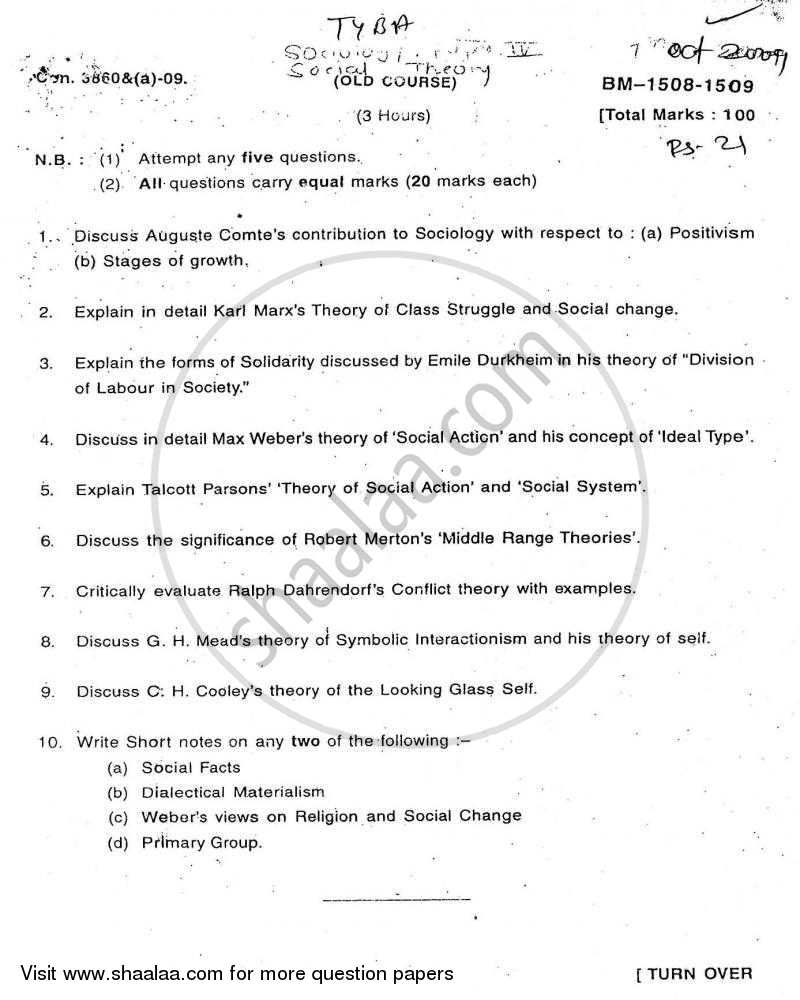 Question Paper - Social Theory 2009 - 2010 - B.A. - Semester 6 (TYBA) - University of Mumbai