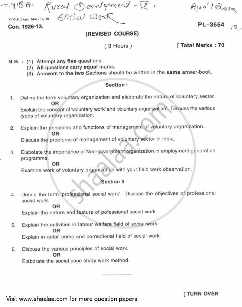 Question Paper - Social Work for Rural Development 2012 - 2013 - B.A. - Semester 5 (TYBA) - University of Mumbai