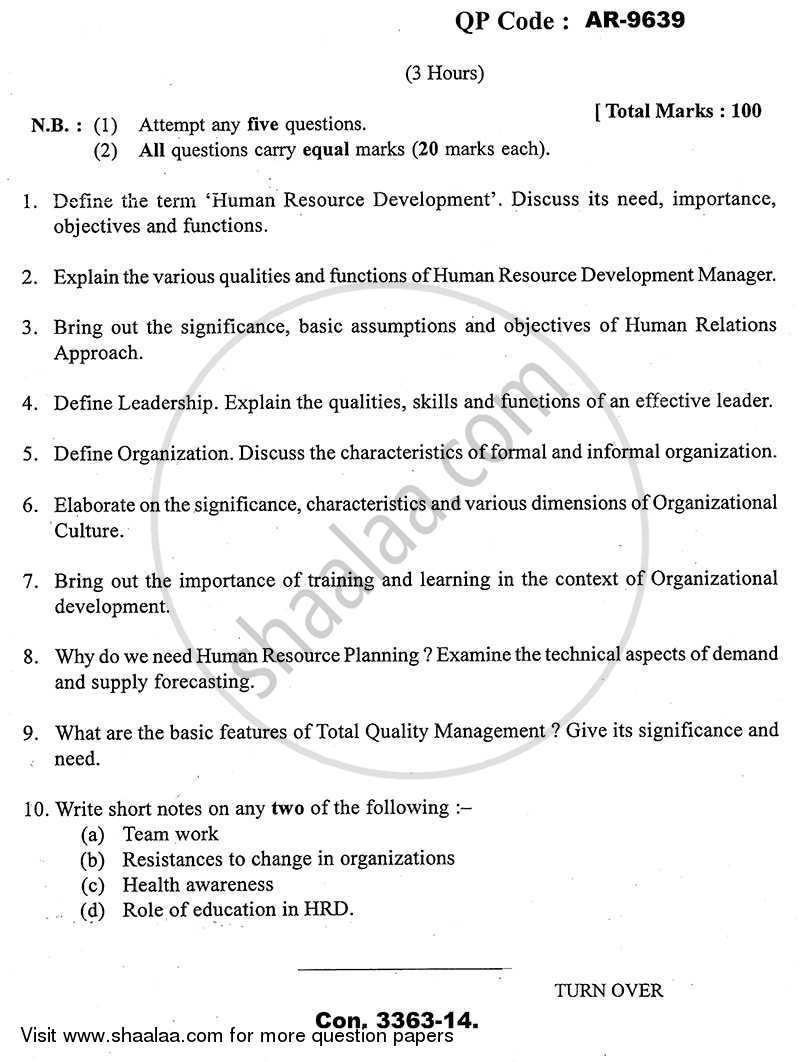 Question Paper - Sociology of Human Resource Development 2013 - 2014 - B.A. - 3rd Year (TYBA) - University of Mumbai