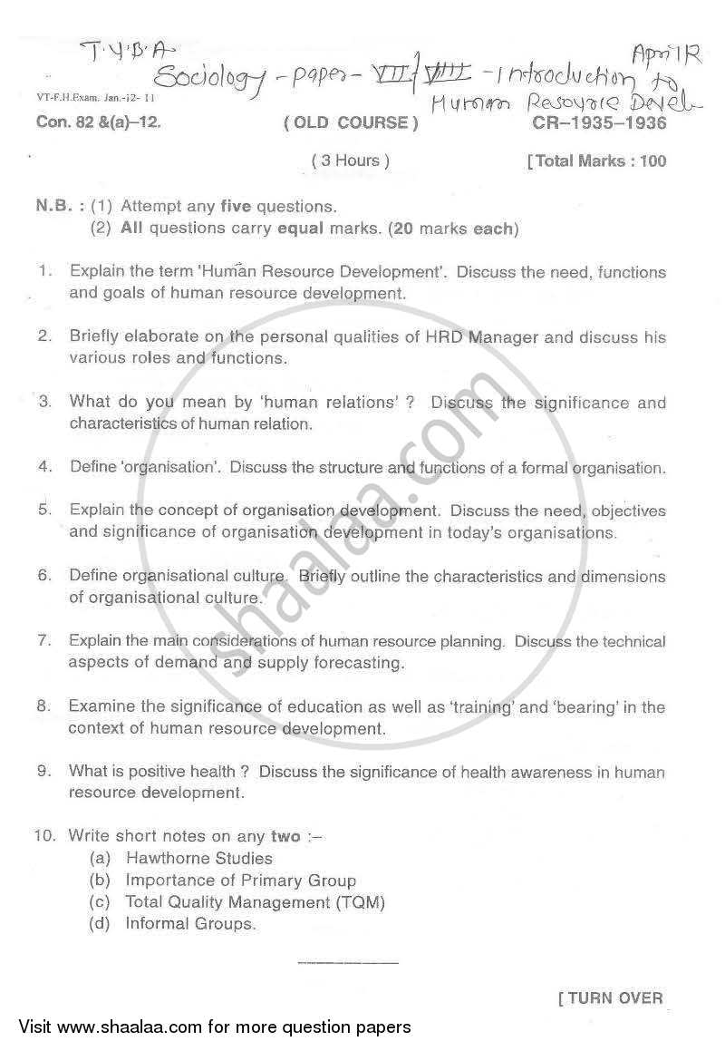 Question Paper - Sociology of Human Resource Development 2011 - 2012 - B.A. - Semester 5 (TYBA) - University of Mumbai