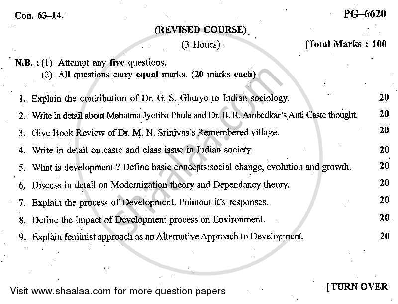 Question Paper - Sociology of India and Sociology of Development 2013 - 2014 - B.A. - Semester 3 (SYBA) - University of Mumbai