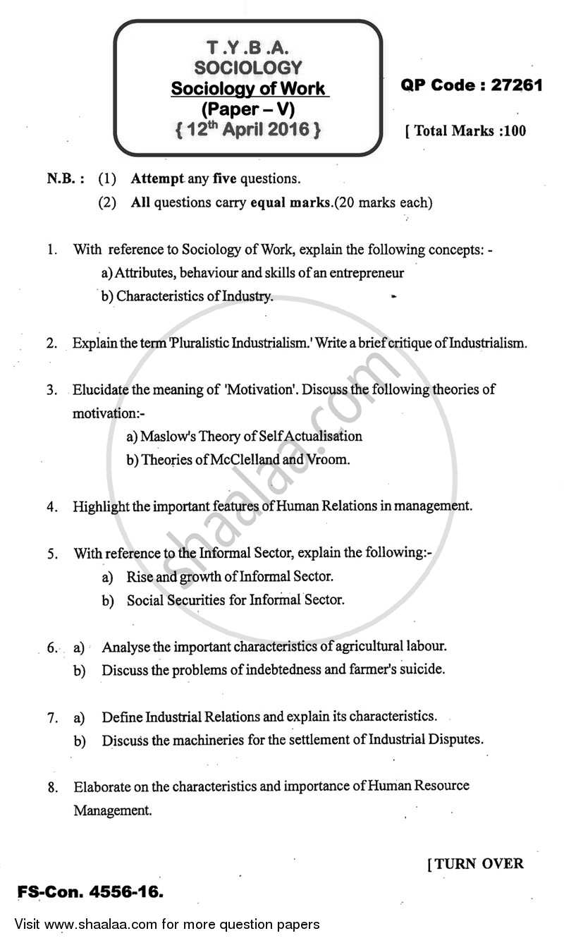 Question Paper - Sociology of Work 2015 - 2016 - B.A. - 3rd Year (TYBA) - University of Mumbai