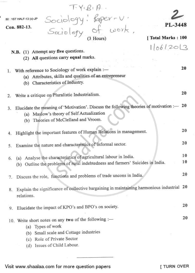 Question Paper - Sociology of Work 2012 - 2013 - B.A. - Semester 5 (TYBA) - University of Mumbai