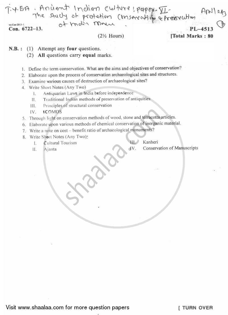 Question Paper - The Study of Protection, Conservation and Preservation of Indian Monuments and Antiquities 2 2012 - 2013 - B.A. - Semester 6 (TYBA) - University of Mumbai