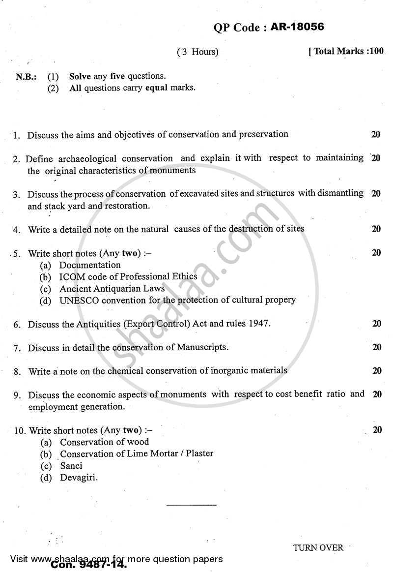 Question Paper - The Study of Protection, Conservation and Preservation of Indian Monuments and Antiquities 2 2013 - 2014 - B.A. - Semester 6 (TYBA) - University of Mumbai