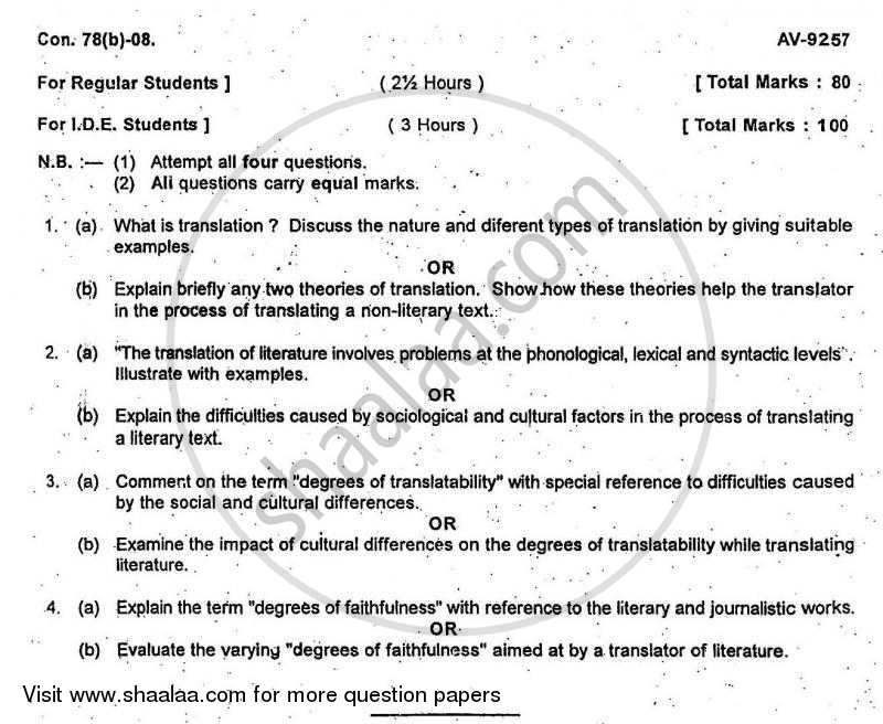 Question Paper - Theory and Practice of Translation 2007 - 2008 - B.A. - 3rd Year (TYBA) - University of Mumbai
