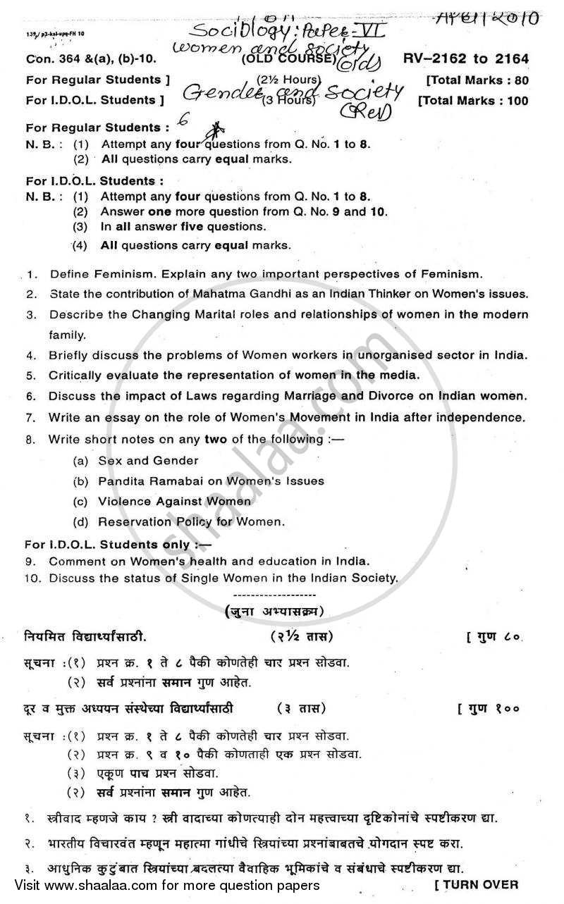 Question Paper - Women and Society 2009 - 2010 - B.A. - Semester 6 (TYBA) - University of Mumbai