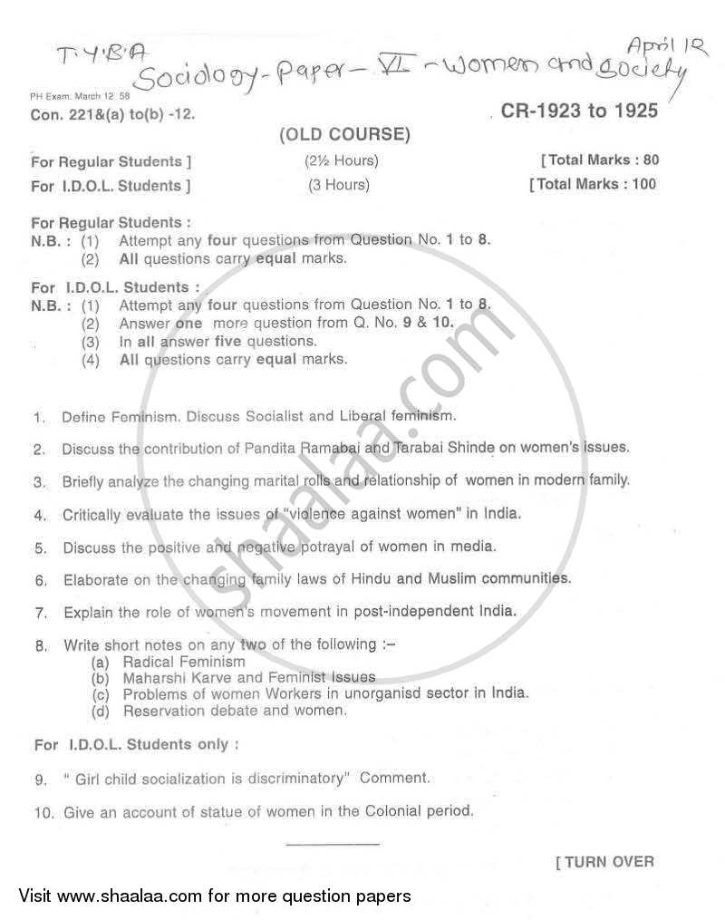 Question Paper - Women and Society 2011 - 2012 - B.A. - Semester 6 (TYBA) - University of Mumbai