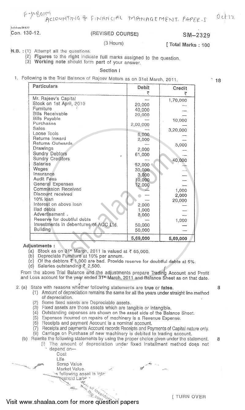 Question Paper - Accounts 1 - Accounting and Financial Management 2012 - 2013-B.Com.-1st Year (FYBcom) University of Mumbai