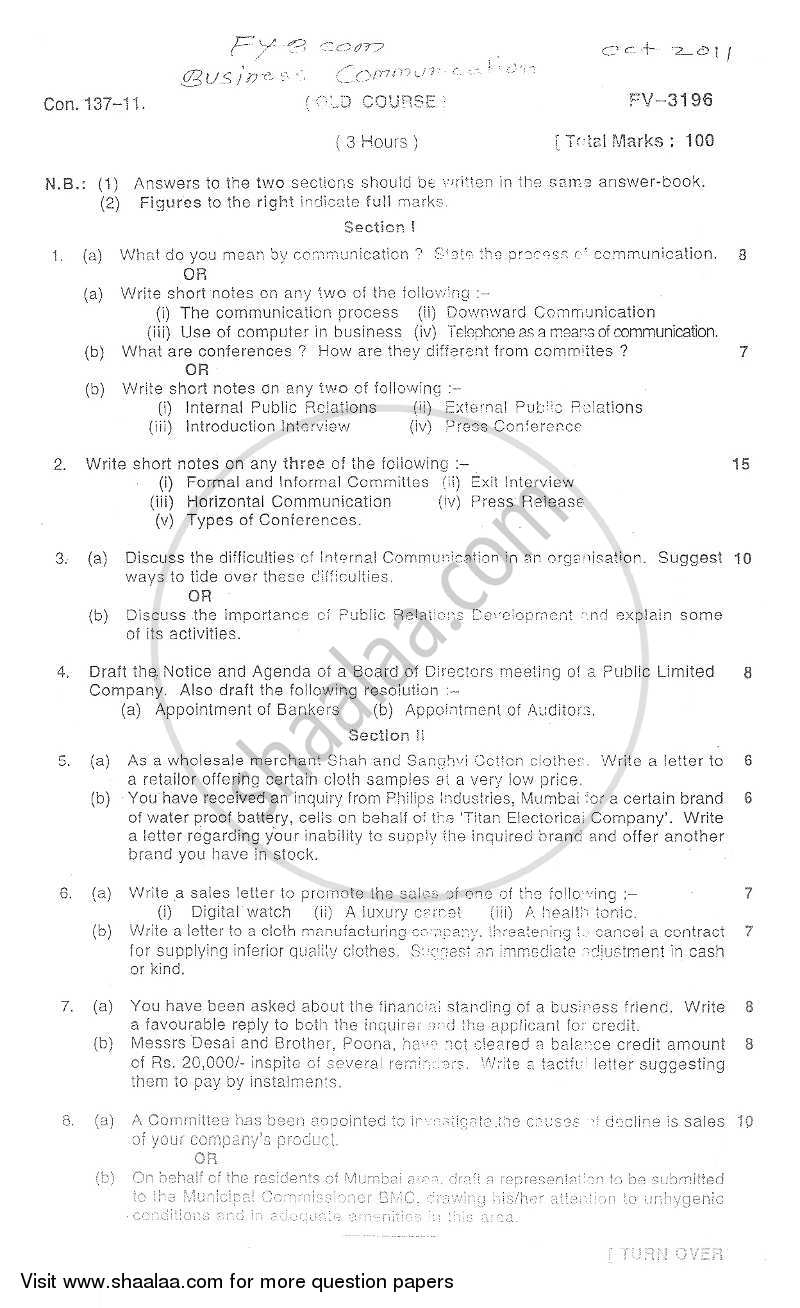 Question Paper - Business Communication 2011 - 2012 - B.Com. - 1st Year (FYBcom) - University of Mumbai