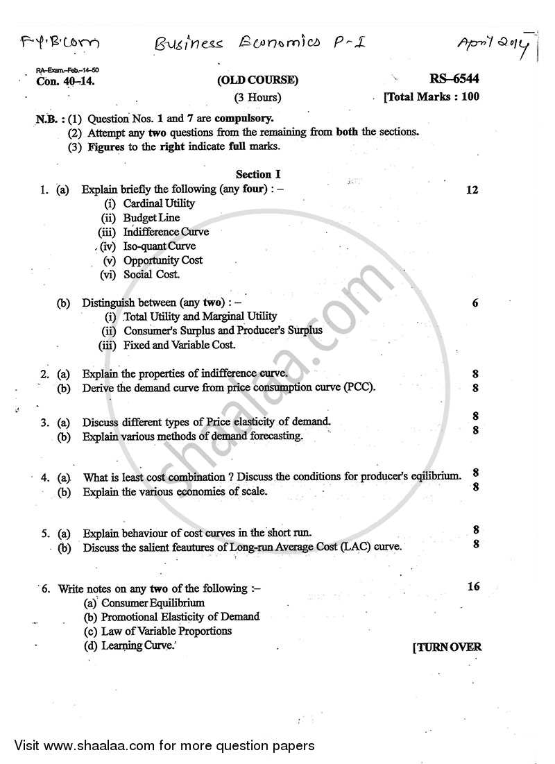 Question Paper - Business Economics 1 2013 - 2014 - B.Com. - 1st Year (FYBcom) - University of Mumbai
