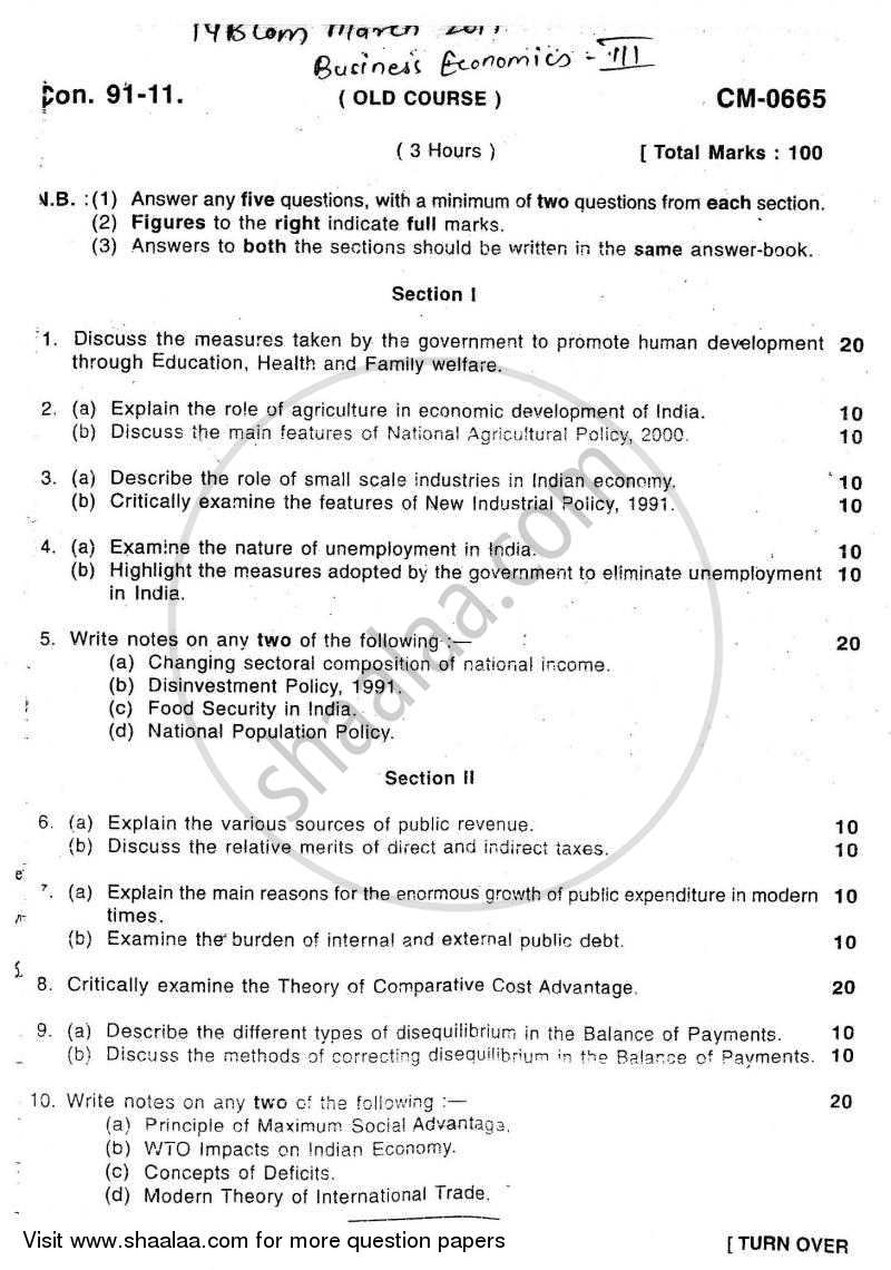 Question Paper - Business Economics 3 2010 - 2011 - B.Com. - 3rd Year (TYBcom) - University of Mumbai