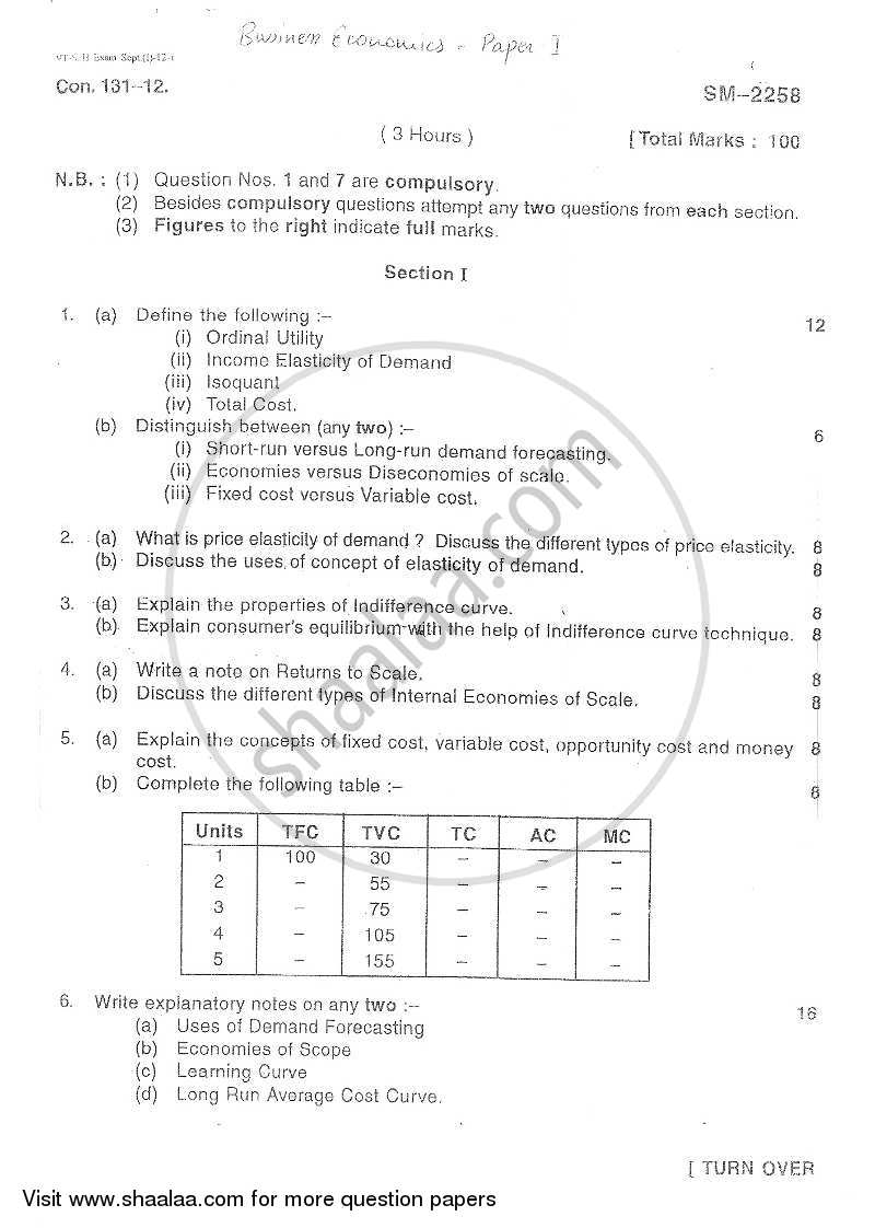 Question Paper - Business Economics 3 2012 - 2013 - B.Com. - 3rd Year (TYBcom) - University of Mumbai