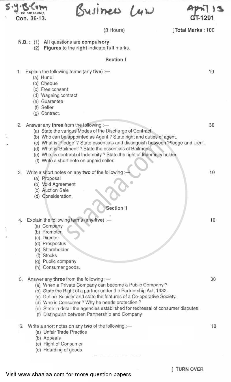 Question Paper - Business Law 2012 - 2013 - B.Com. - 2nd Year (SYBcom) - University of Mumbai